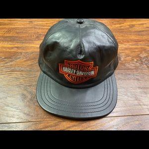 Leather Harley Davidson adjustable hat